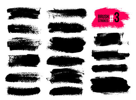 Set Of Black Brush Strokes, Paint, Ink, Grunge, Brushes, Lines. Dirty Artistic Elements, Boxes, Frames. Freehand Drawing. Vector Illustration. Isolated On White Background.
