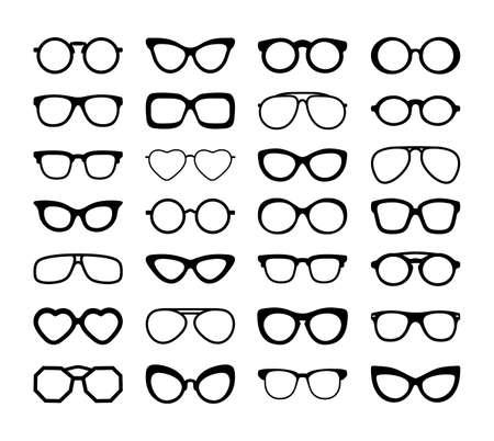 Conjunto de siluetas negras de diferentes anteojos. Diseño plano. Ilustración de vector. Aislado sobre fondo blanco.
