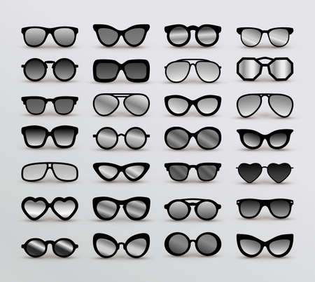 Set Of Black Silhouettes Of Different Eyeglasses. Flat Design. Vector Illustration. Isolated On White Background. Ilustração