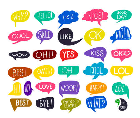 Set Of Colorful Questions Speech Bubbles In Flat Design With Short Messages. Flat Design. Vector Illustration. Isolated On White Background. Ilustrace