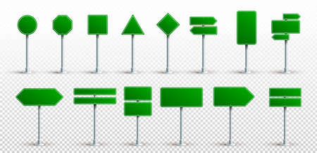 Set Of Green Traffic Signs. Road Board Text Panel, Mockup Signage Direction Highway City Signpost Location Street Arrow Way. Vector. Illustration. Isolated On Transparent Background.