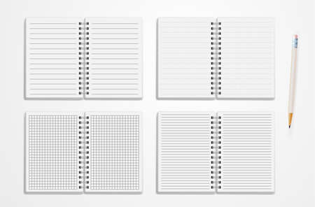 Set Of Realistic Line Notebooks. Blank Padded Diary Sketchbook With Dots And Lines For Writing And Painting Empty Templates. Vector Illustration. Isolated On White Background.