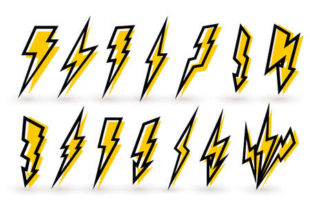 Set Of Thunderbolt And High Voltage Black Yellow Icons For Design. Vector Illustration. Isolated On White Background.