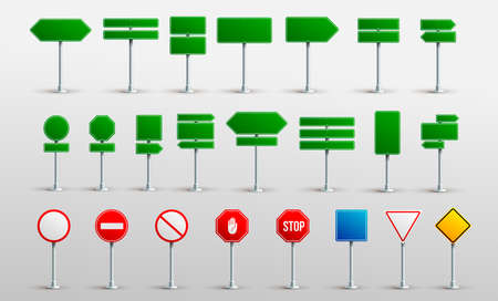 Set Of Traffic Road Realistic Signs. Signage Signal Warning Sign Stop Danger Caution Speed Highway Empty Parking Street Board. Vector Illustration. Isolated On White Background.