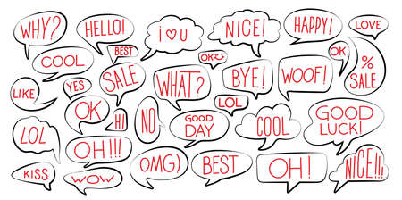 Set Of Various Stickers Of Black Line Speech Bubbles With Red Text. Comic Speech Bubble And Dialogue. Vector Illustration. Isolated On White Background. 向量圖像