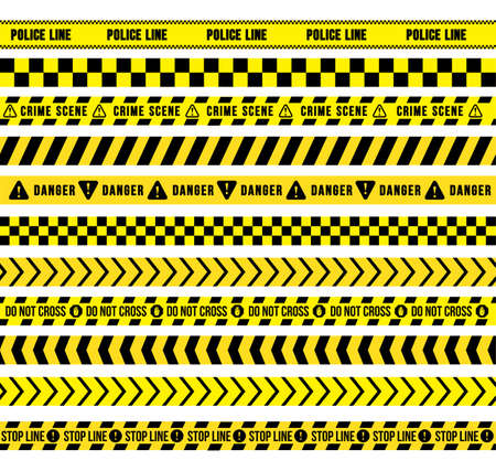 Yellow and black caution tape, seamless borders. Flat Design. Vector Illustration. Isolated On White Background Ilustrace