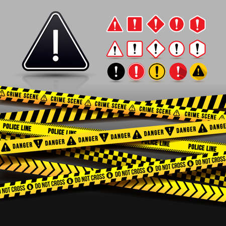 Yellow And Black Caution Tape, Seamless Borders. Set of Danger Warning Icon. Flat Design. Vector Illustration. Isolated On Gray Background. Standard-Bild - 123288819
