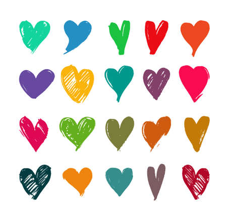 Set of Hand drawn hearts. Vector illustration. Isolated on white background.
