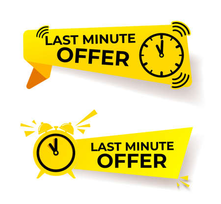 Set of last minute offer button sign, yellow flat modern label, alarm clock countdown logo. Vector illustration. Isolated on white background.