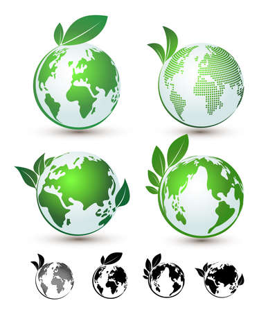 Set of Planet earth with plant logo flat design.Vector illustration. Isolated on white background.