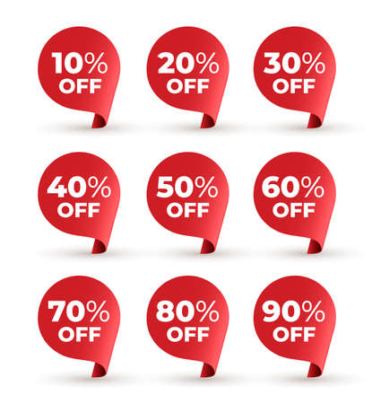 Set of red banner speech bubble. 10, 20, 30, 40, 50, 60, 70, 80,90 percent off. Vector illustration. Isolated on white background.