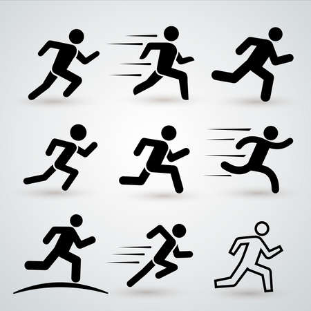 Set of Running man, athletics, marathon, summer sport. Delivery, fast courier, fitness, health, run icon. Vector illustration. Isolated on white background.