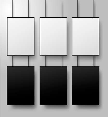 White and black posters with black frame a4 size mockup. Vector illustration. Isolated on white background.