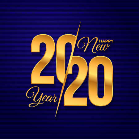 2020 logo happy new year. Celebration text graphics. Cover of business diary for with wishes. Brochure design template, poster, card, banner. Vector illustration. Isolated on blue background. Ilustrace