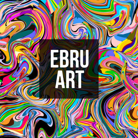 Colorful Ebru marbling texture. Watercolor abstract design. Vector illustration. Isolated on black background. Ilustrace