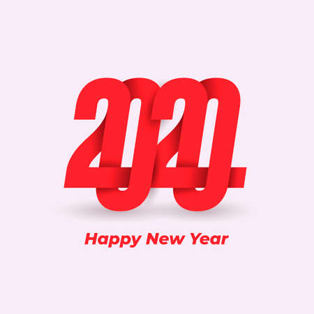 Happy New Year 2020 Design logo Pattern. Celebration text graphics. Cover of business diary for with wishes. Brochure design template, card, banner, poster. Vector. Isolated on white background.