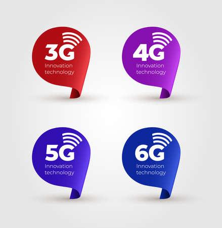Set of banner speech bubble 3G, 4G, 5G & 6G Icons. Flat design element. Vector illustration. Isolated on black background.