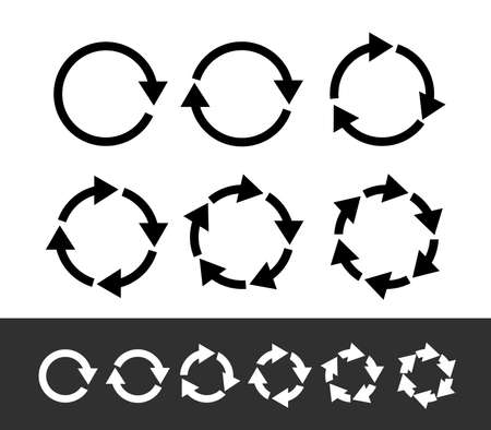 Set of black circle arrows. Modern mono solid plain flat minimal style. Vector Icons. Graphic for website. Isolated on white background.