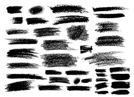 Set of brush strokes hand drawn vector illustration. Isolated on white background.