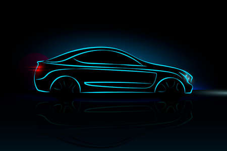 Car silhouette made from lines, side view. Modern blue neon car silhouette for logo, banner for marketing advertising design. Vector illustration. Isolated on black background.