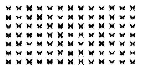 Mega Set of 91 butterflies silhouettes. Vector illustration. Isolated on white background. Ilustracja