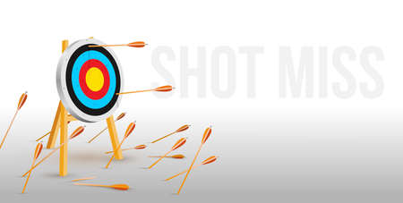 Multiple failed inaccurate attempts to hit archery target. Flat cartoon shot miss. Many arrows missed hitting target mark. Business challenge failure metaphor. Vector illustration.