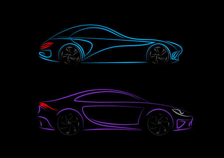 Set of Car silhouette in side view. Blue, violet neon car silhouette for   banner for marketing advertising design. Modern vector illustration. Isolated on black background.
