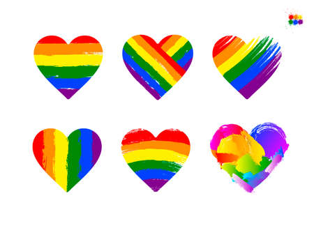 Set of LGBT pride flag or rainbow pride flag on heart background. Celebrated annual. LGBT flag stripes. Vector illustration. Isolated on white background.