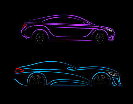Set of Modern car silhouette in side view. Blue, violet neon car silhouette for  banner for marketing advertising design. Vector illustration. Isolated on black background.