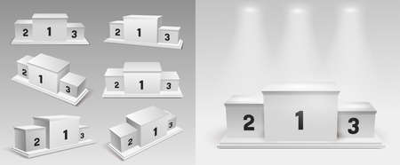 Set of white winners podium with spotlights. Pedestal. Vector illustration. Isolated on white background.
