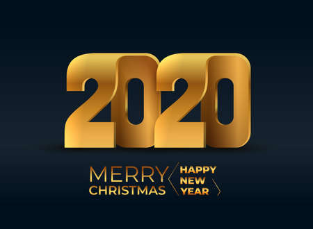 2020 merry christmas and happy new year. 2020 golden symbols for poster, postcard, banner, and web design. Vector illustration. Isolated on black background.
