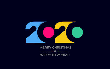 Happy new year 2020 vector background. Cover of card for 2020. Vector illustration. Isolated on black background.