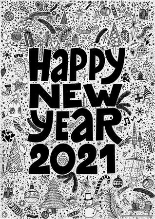 Happy New Year 2021 Cute hand drawn doodle ink cartoon. Merry Christmas calendar, poster, greeting card. Vector illustration. Isolated on white background.