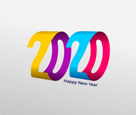 Happy New Year colored 2020 text design. Cover of business diary for 2020 with wishes. Brochure design template, card, banner. Vector illustration. Isolated on white background.