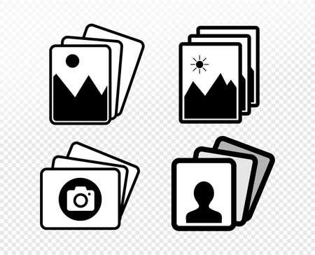 Set of picture portrait icon symbol. Vector illustration. Isolated on white background. Ilustração