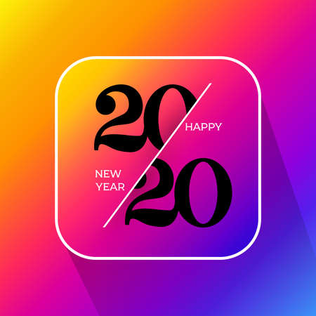 2020 happy new year label. Celebration text graphics. With black design holiday sign. Vector illustration. Isolated on colored gradient background.