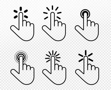 Set of hand click icon. Touch, click hand gesture symbol for your web site design, picture, art, app, UI. Vector symbol on transparent background.