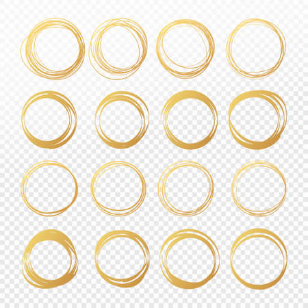 Set of hand drawn round golden pencil scribble frames. Edge torn gold box. Vector illustration hatch foil circles. Isolated on white background.
