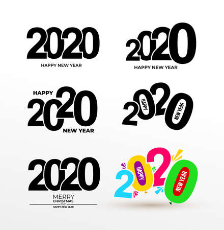 Set of Happy New Year 2020 Text Design. Vector. Isolated on white background.