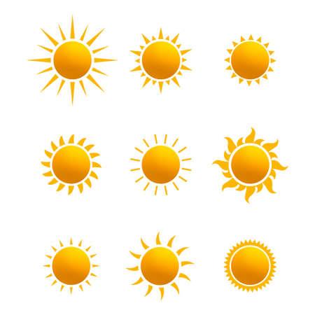 Set realistischer Sonnensymbole für Wetterdesign. Sonnenpiktogramm, flaches Symbol. Trendiges Sommersymbol für Website-Design, Web-Button, mobile App. Vorlage-Vektor-Illustration. Isoliert auf weißem Hintergrund.