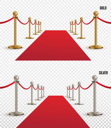 Set of red carpet, golden and silver barriers realistic. VIP event, luxury celebration. Celebrity party entrance. Grand opening. Shiny fencing vector. Cinema premiere on transparent background.