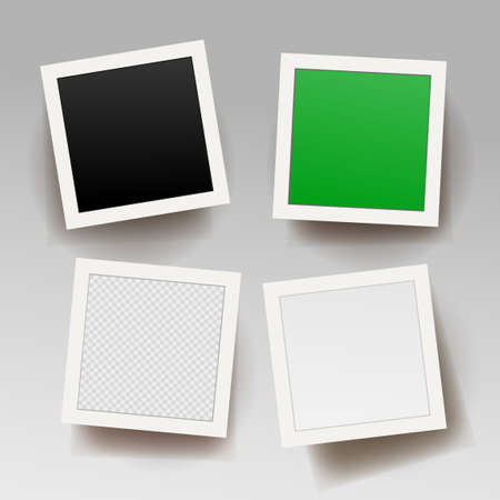 Set of square photo frame template with shadows. Photo with black, green, transparent and white background. Vector illustration. Isolated on white background. Ilustracja