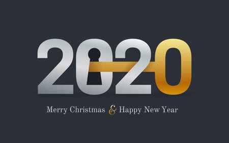 Carte de nouvel an 2020 pour société immobilière. Concept de bonne année 2020 avec clé et serrure de porte. Immobilier. Illustration vectorielle. Isolé sur fond noir. Vecteurs