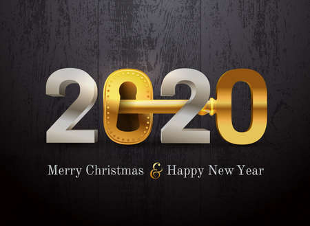 2020 new year card for real estate company. Happy new year 2020 concept with key and door lock. Realty. Vector illustration. Isolated on black wood texture. Ilustracja