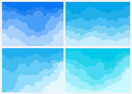 Big Set of blue sky background with clouds. Vector illustration. Isolated on white background. Ilustracja