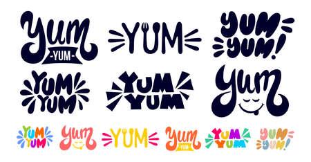 Grande set di Yum Yum Testo in bianco e nero e colorato. Una sola parola. Maglietta grafica stampabile. Scarabocchio di design per la stampa. Stile di calligrafia disegnato a mano del fumetto. Vettore isolato su sfondo bianco.