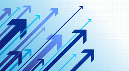 Blue arrows going up. Right movement. Growth success. Vector illustration. Isolated on white background. Ilustracja