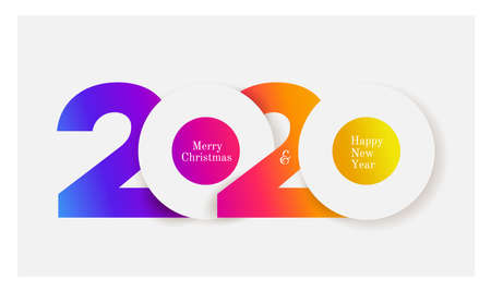 Happy New Year 2020 colored text design. Cover of business diary for 2020 with wishes. Brochure design template, card, banner. Colorful vector illustration. Isolated on white background. Ilustracja