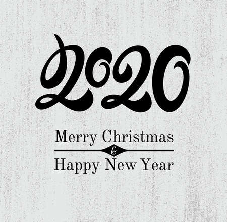 Happy new year card for 2020 with main big numbers. Modern minimalist uppercase letters figures are placed on the pages of the magazine, books Vector illustration. Isolated on white background. Ilustracja