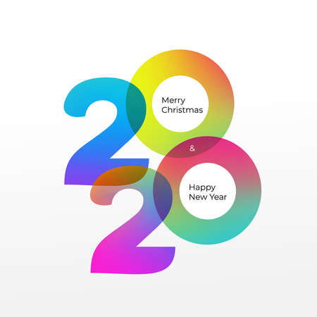 Happy new year 2020 vector background. Cover of card for 2020. Vector illustration. Isolated on white background.
